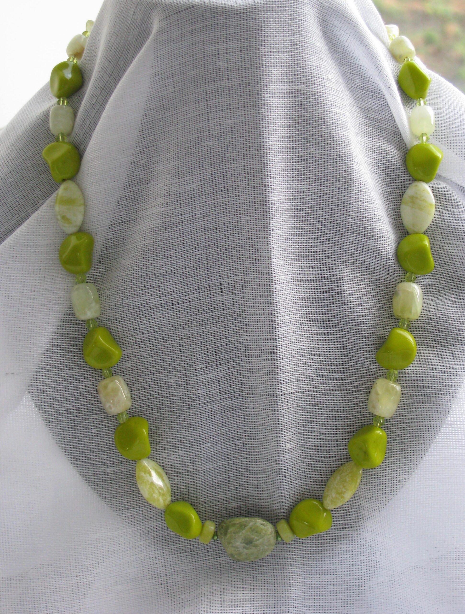 Serpentine Jade And Green Quartz Necklace